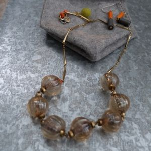 Anthropologie Glass Bead Necklace with Earrings